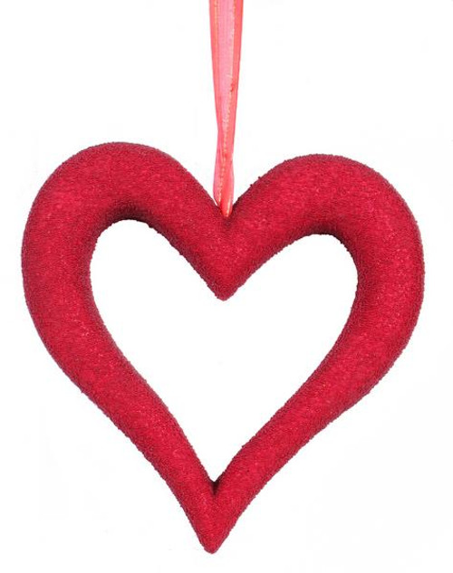 "10"" Red Bead Open Heart Hanger"