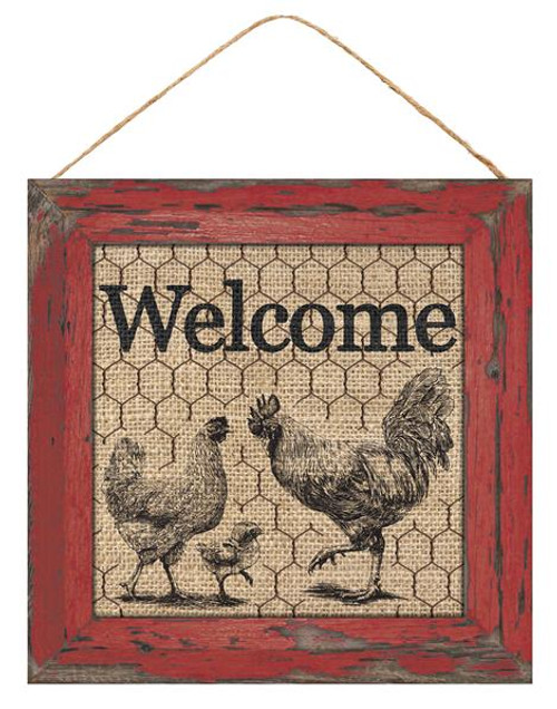 "10"" Square Welcome w/ Chickens Sign"