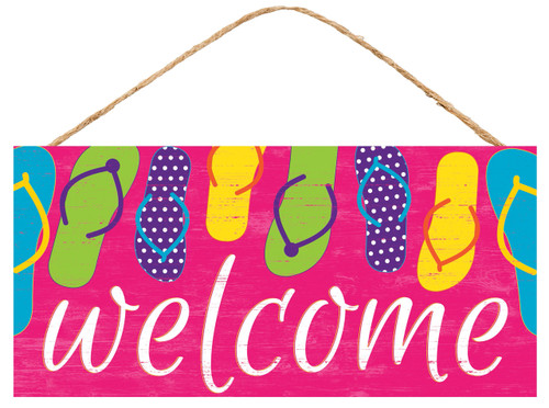 "12.5"" Welcome Flip Flop Sign: Pink"