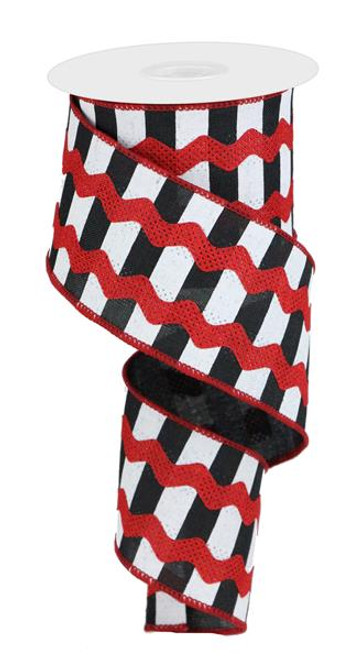 "2.5"" Ricrac on Stripes Ribbon: Red/Black/Wht (10yds)"