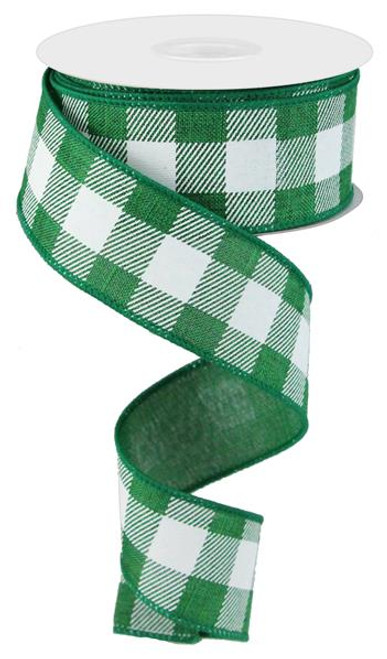 "1.5"" Plaid Check Ribbon: Emerald Green/White - 10Yds"