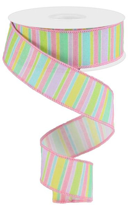 "1.5"" Horizontal Stripe Ribbon: Pastel Multi - 10Yds"
