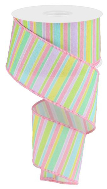 "2.5"" Horizontal Stripe Ribbon: Pastel Multi - 10Yds"