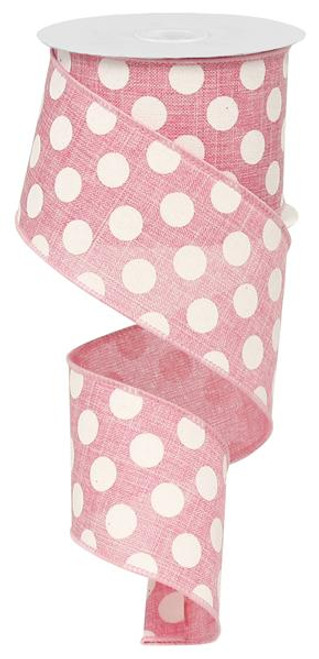 "2.5"" x 10yd Linen Polka Dot Ribbon: Pink/White"