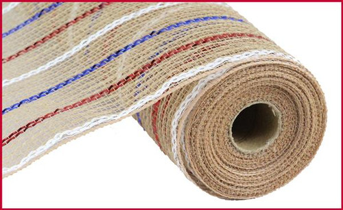 "10.5"" Poly Jute Mesh: Natural/Red/Wht/Blue Stripe"