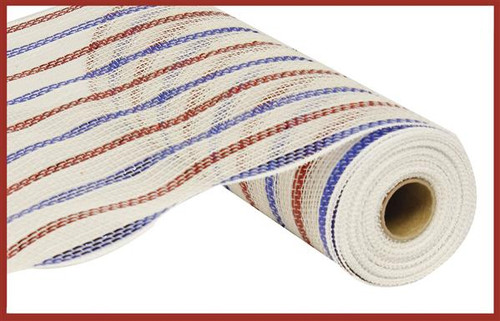 "10.5"" Poly Cotton Mesh: White/Red/Blue Stripe"