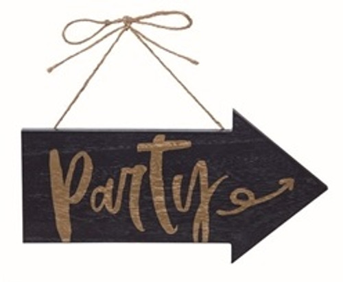 """12"""" Navy/Gold Party Arrow Sign"""