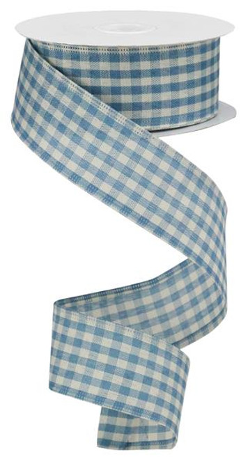 "1.5"" Primitive Gingham Ribbon: Farmhouse Blue 10Yds"