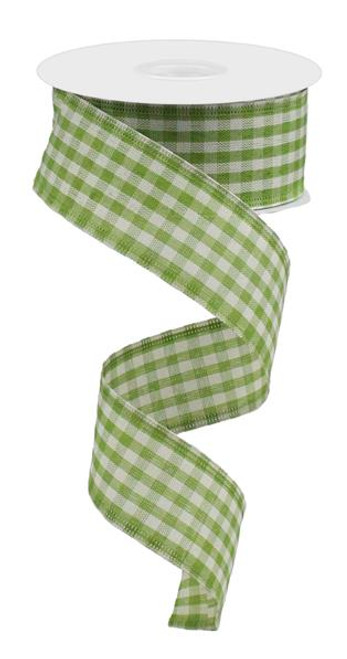 "1.5"" Primitive Gingham Ribbon: Light Moss Green 10Yds"
