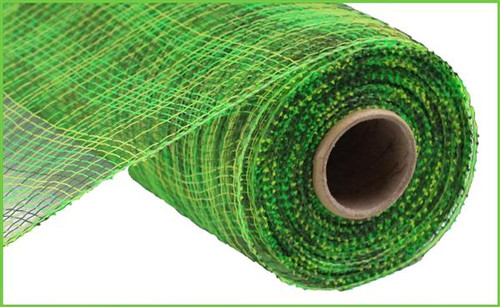 "10"" Deco Poly Mesh: Multi Stripe Moss/Lime/Apple Green"