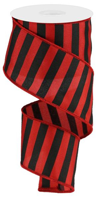 "2.5"" Medium Horizontal Stripe Ribbon: Red/Black"