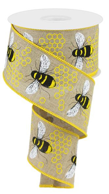 "2.5"" Honey Bee Ribbon: Lt Beige"