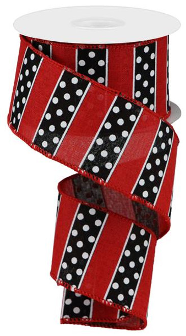 "2.5"" Polka Dot/Stripe Ribbon: Red/Black (10yds)"