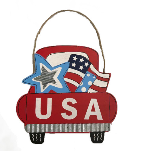 Wooden Pickup Truck Back Sign - USA