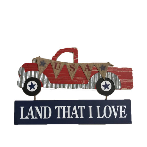 Wooden Pickup Truck USA Land That I Love Sign