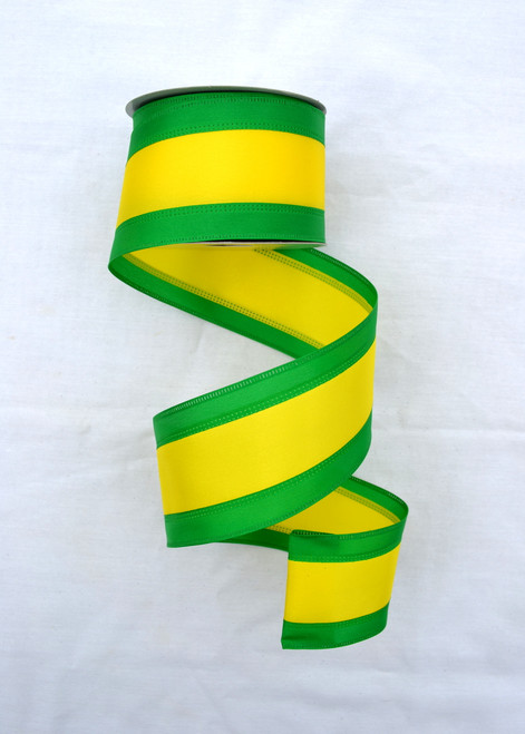 """Green and Yellow Tri-Stripe Ribbon - Satin Wired - 2.5"""" X 10Yds"""