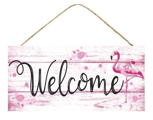 "12.5"" Welcome Flamingo Sign"