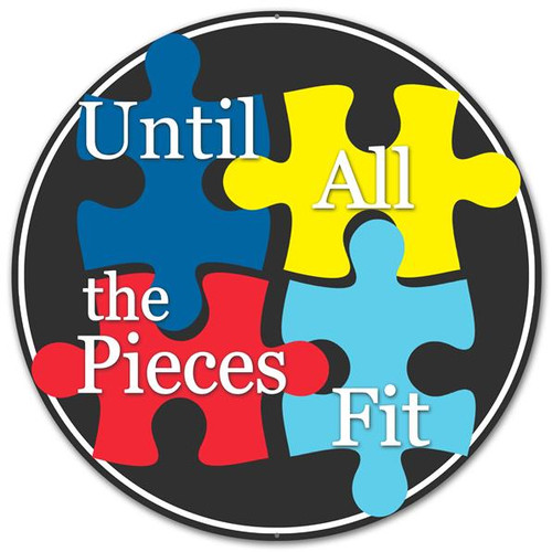 "12"" Autism Puzzle Piece Metal Sign"