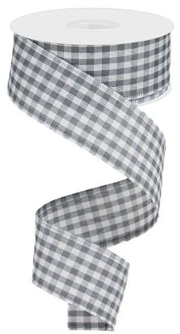 "1.5"" Gingham Ribbon: Grey/White  - 10Yds"