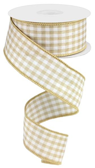 "1.5"" Gingham Ribbon: Tan/Cream - 10Yds"