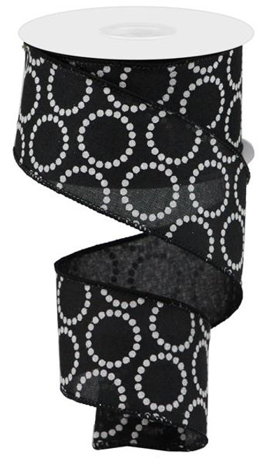 "2.5"" x 10yd Pearl Beads on Canvas Ribbon: Black"