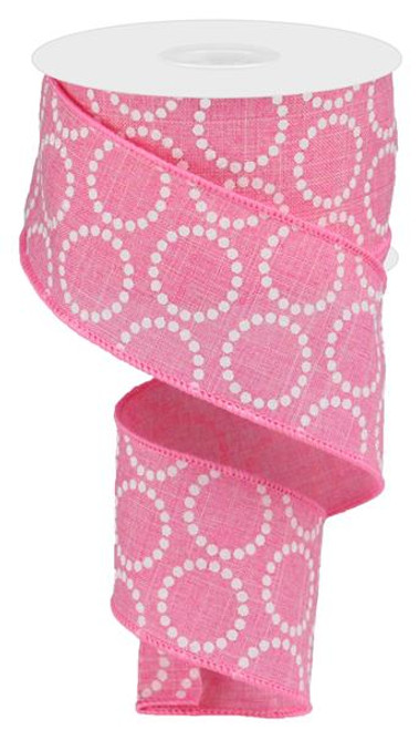"2.5"" x 10yd Pearl Beads on Canvas Ribbon: Pink"