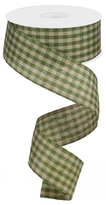 "1.5"" Primitive Gingham Ribbon: Moss Green/Tan 10Yds"