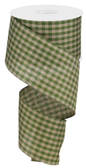 "2.5"" Primitive Gingham Ribbon: Moss Green/Tan 10Yds"