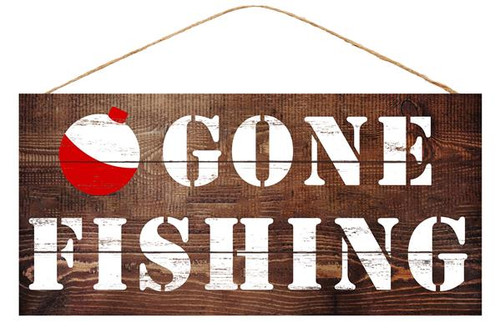 "12.5"" MDF Gone Fishing Sign"