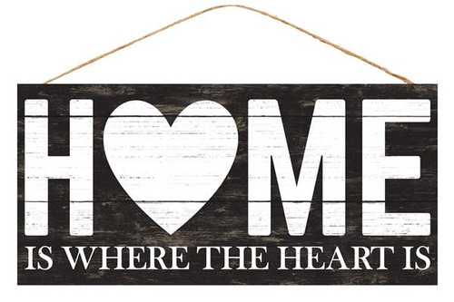 "12.5"" Home is Where the Heart Is Sign: Black"