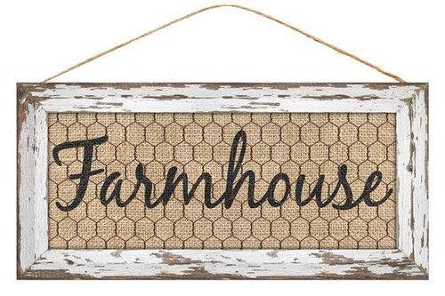 "12.5"" Farmhouse Chicken Wire Sign: White"