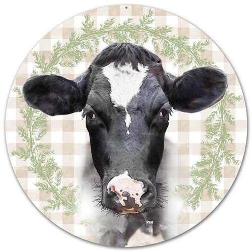 "12"" Metal Bessie the Cow Sign"