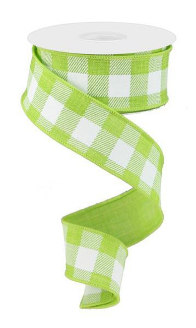 "1.5"" Plaid Check Ribbon: Lime Green/White - 10Yds"
