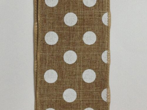 "2.5"" x 10yd Canvas Polka Dot Ribbon: Natural/White"