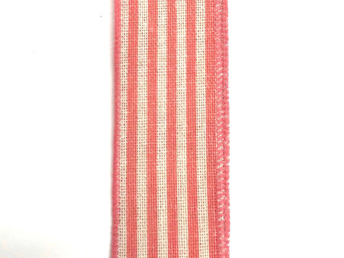 "1.5"" Vertical Stripe Ribbon: Ivory/Coral -10Yds"