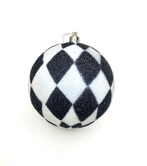 100mm Harlequin Ball Ornament: Black/White