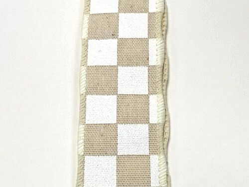 "1.5"" x 10yd Canvas Check Ribbon: Natural/White"