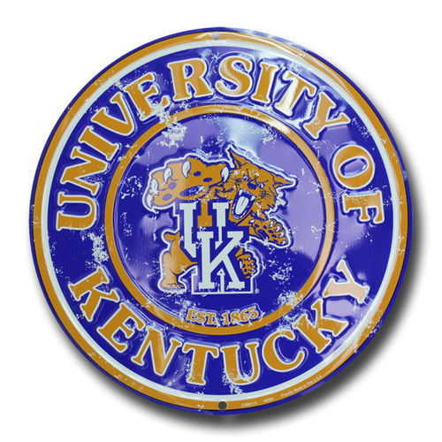 University of Kentucky Embossed Metal Circular Sign ( C-059)