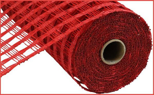 "10"" Poly Burlap Weaved Mesh: Red"
