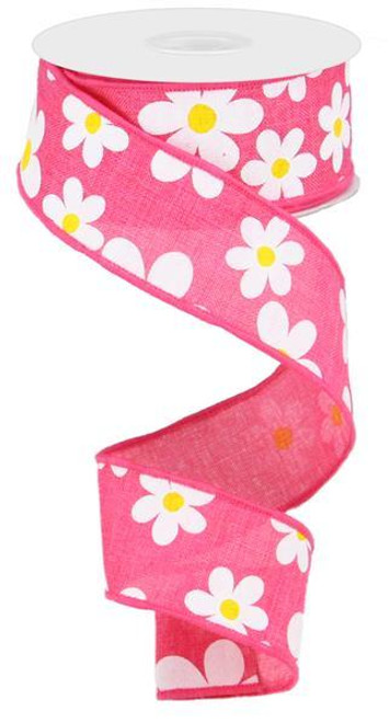 "1.5"" Daisy Print Ribbon: Hot Pink - 10Yds"