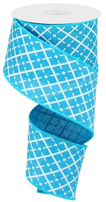 "2.5"" Glittered Argyle Ribbon: Turquoise (10yds)"