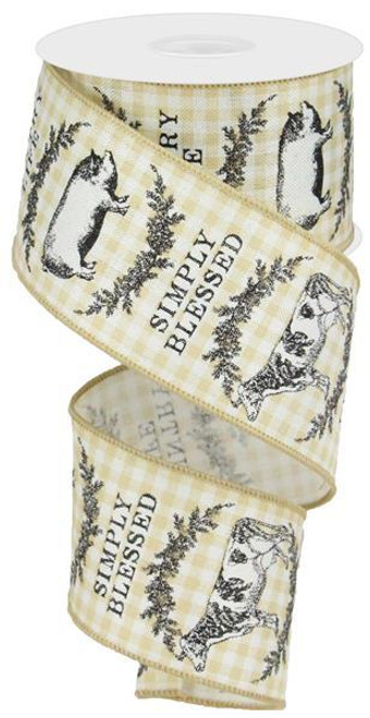 "2.5"" Farmhouse Animals Check Ribbon: Beige/Ivory - 10yds"