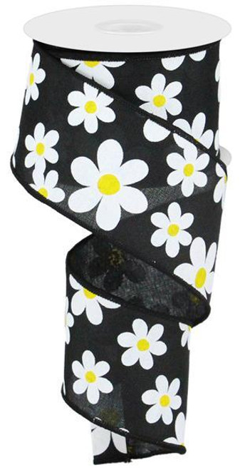 "2.5"" Daisy Print Ribbon: Black - 10Yds"