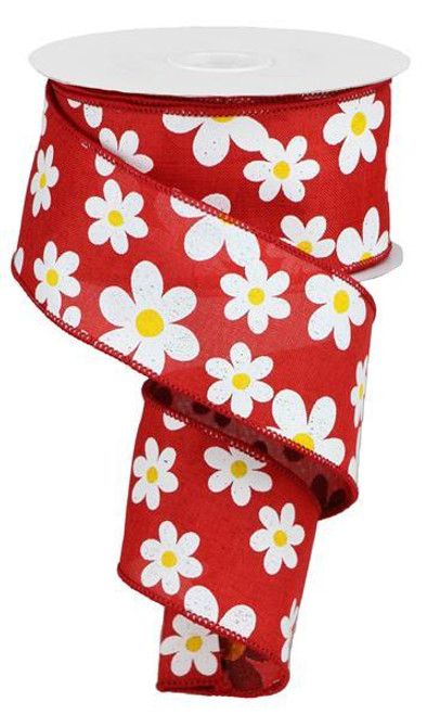 "2.5"" Daisy Print Ribbon: Red - 10Yds"