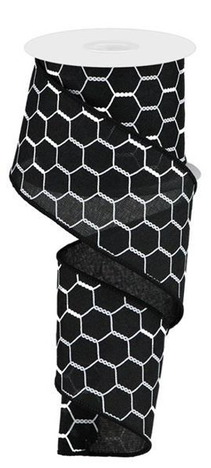"2.5"" Chicken Wire Ribbon: Black/White - 10yds"