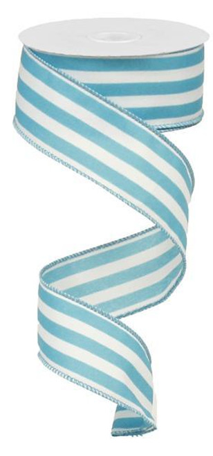 """1.5"""" Vertical Striped Ribbon: Turquoise/White-10Yds"""