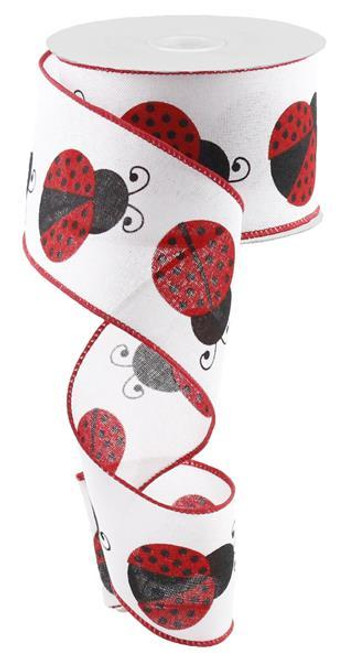 "2.5"" Large Ladybug Ribbon: Wht/Red/Black"