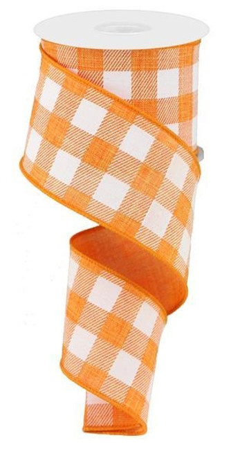 "2.5"" Plaid Check Ribbon: Orange/White - 10Yds"