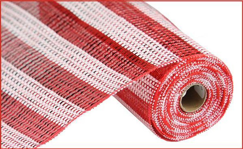 "10"" Deco Poly Mesh: Red/White Horiz Stripe Mesh"