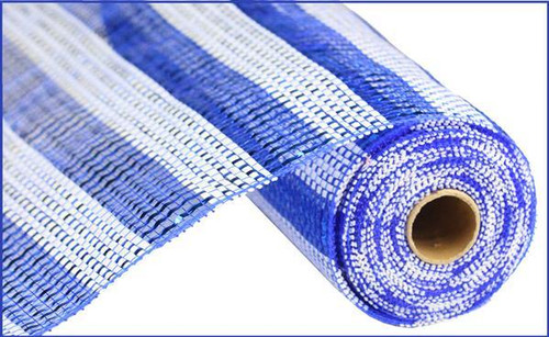 "10"" Deco Poly Mesh: Blue/White Horiz Stripe Mesh"